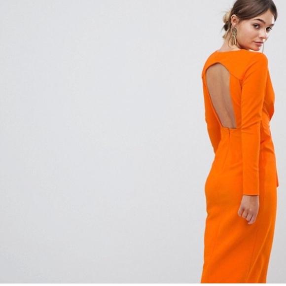 4061070ccb ASOS Dresses   Skirts - ASOS - long sleeve waterfall deep plunge mididress